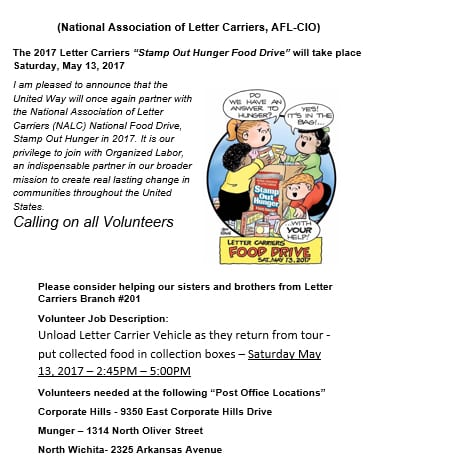 National Association of Letter Carriers 2017 Food Drive